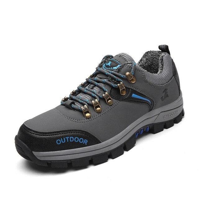 38-47 Зимняя Обувь Мужчины Теплая Зима Мужская Обувь Повседневная Плюс Размер Серый Зеленый Анти-скольжения