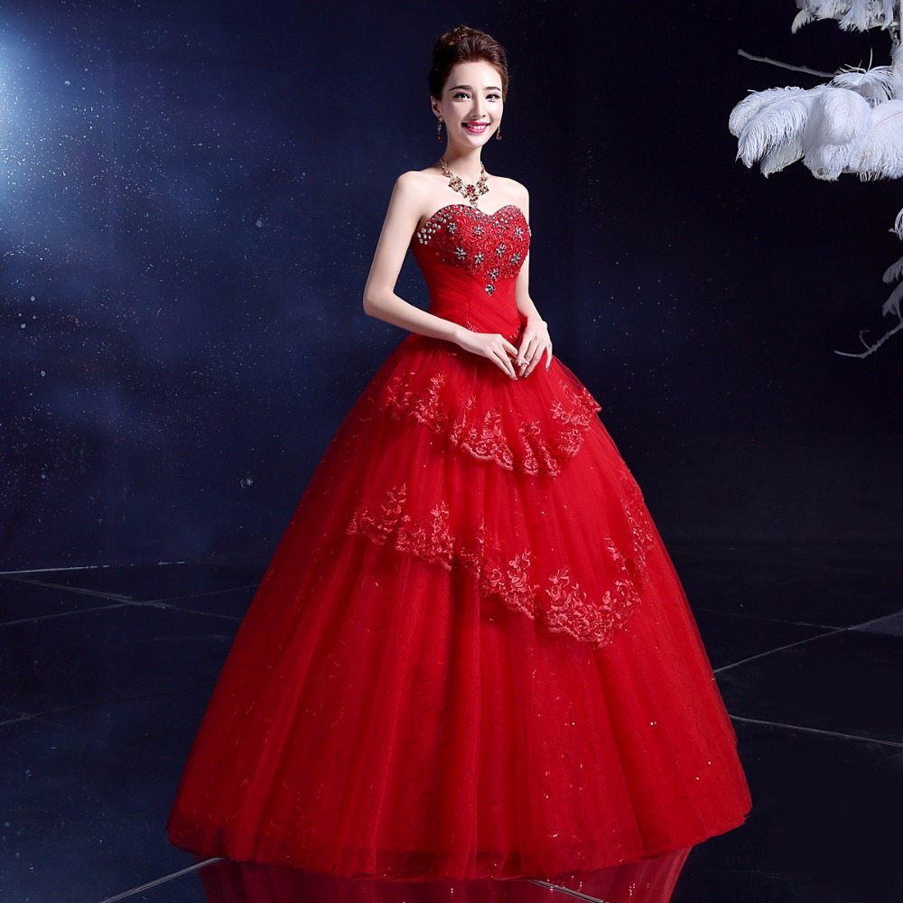 LYG Y10R#The new 2017 red white maxi wedding dress manufacturers ...
