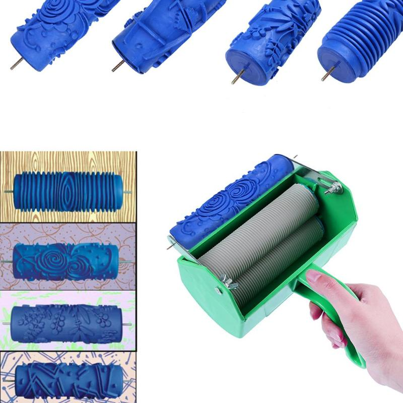 1pc Embossed Paint Roller DIY Rubber Roller Sleeve Wall Texture Stencil Brush Pattern Decor Wall Painting Application