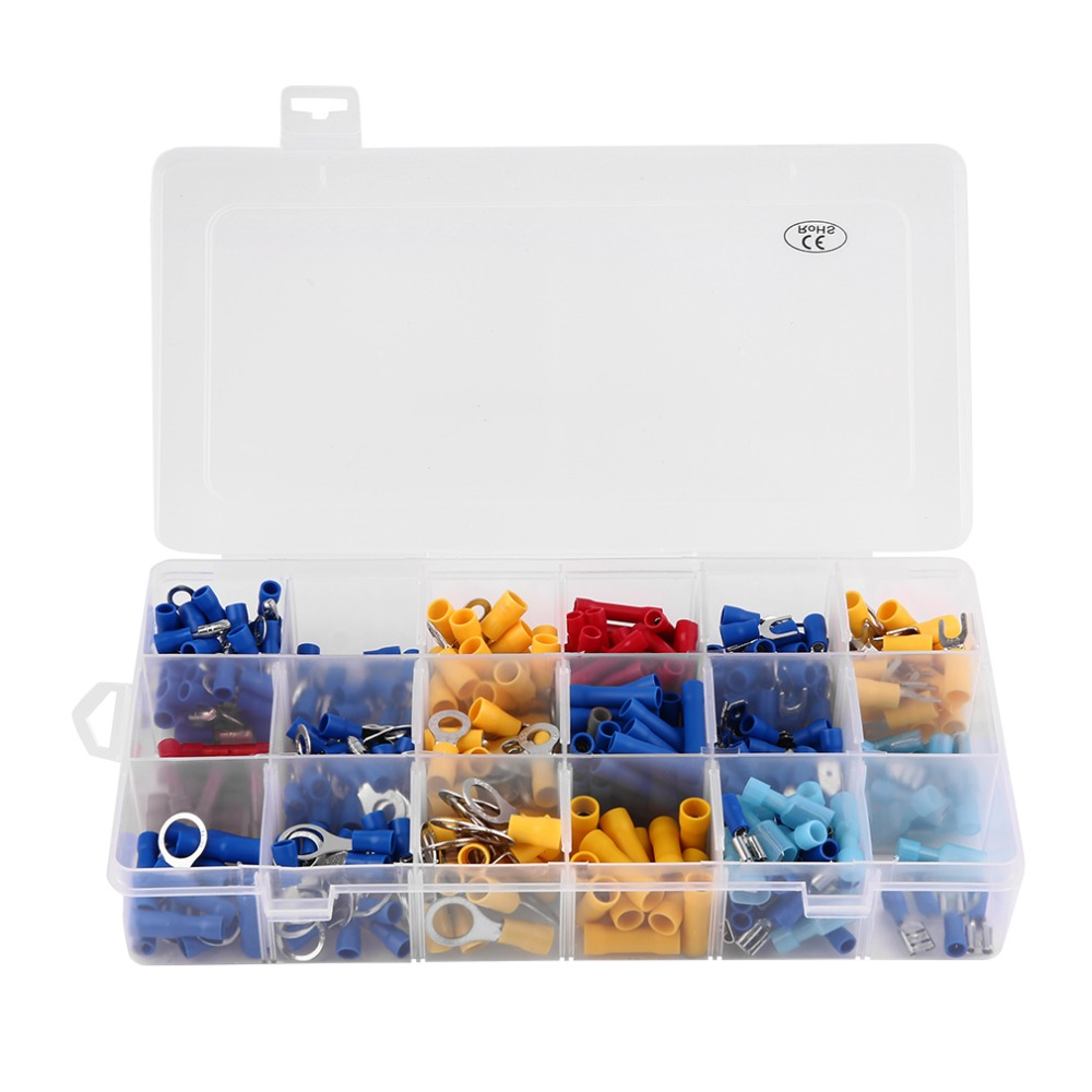 360pcs/Lot Insulated Terminals Electrical Crimp Connector Wiring Wire Spade Butt Assortment Set Kit With Case Top Sale