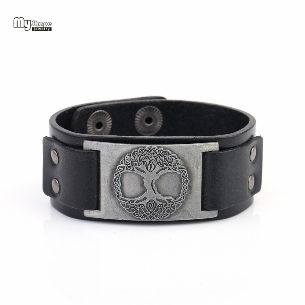 цена на My Shape Vintage Wristband Slavic Tree of Life Genuine Leather Strap Bracelets Men Religion Totem Lucky Viking Bangle