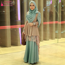 SuDan Elegant Prom Dresses African Long sleeve Evening Dresses with Hijab Chiffon And Lace Formal Dresses high Neck Z959