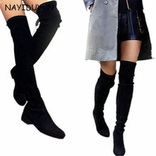 NAYIDUYUN New Women Suede Round Toe Thigh High Boots Stretchy Tall Slim leg Booties Flat Heel Oxfords Black Grey Army Green