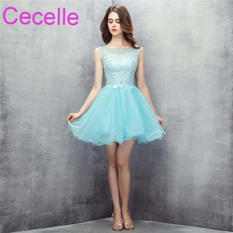 Mint Cute Short Cocktail Dresses 2018 Beaded Lace Tulle Skirt