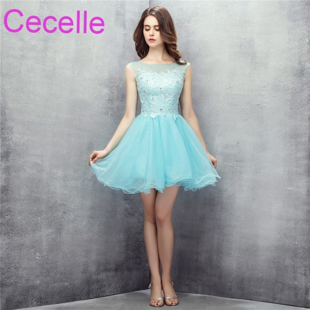 Mint Cute Short Cocktail Dresses 2019 Beaded Lace Tulle Skirt Juniors Girls  Informal Short Cocktail Party Dress Discounted 589832c2c