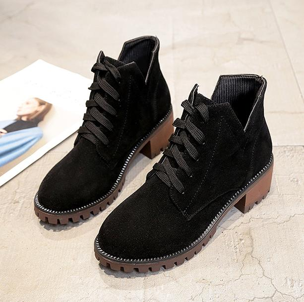 2018 autumn new Martin boots female Europe and the United States round head with non-slip thick with fashion shoes
