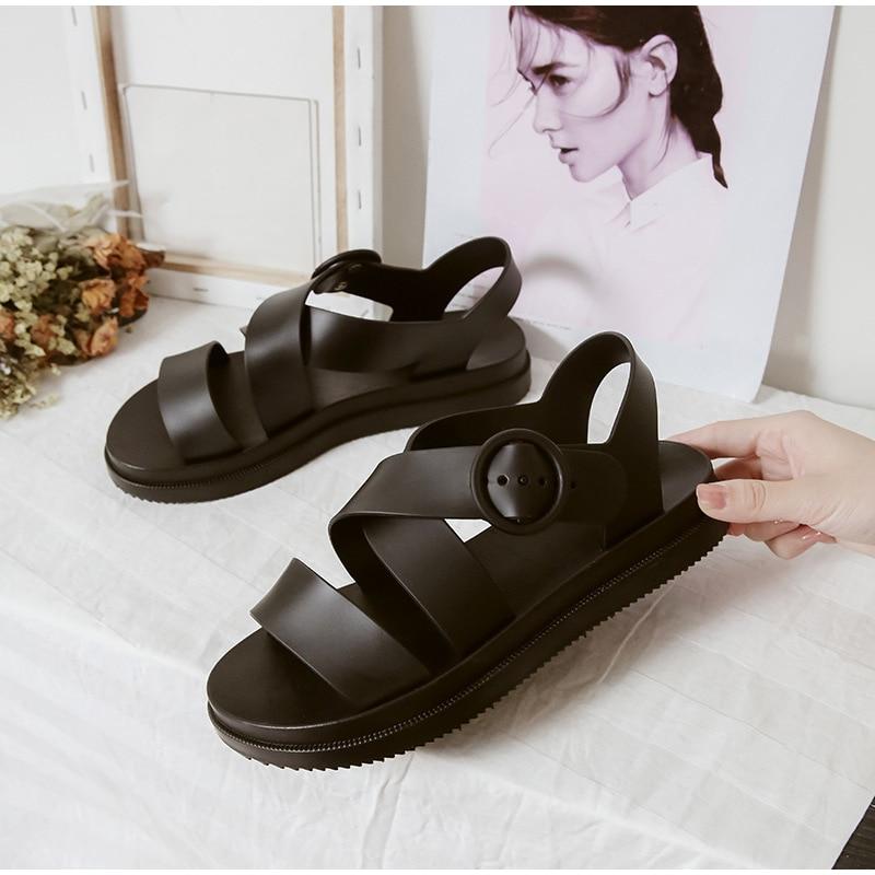 HTB1cp5tKNnaK1RjSZFBq6AW7VXap MCCKLE Flat Sandals Women Shoes Gladiator Open Toe Buckle Soft Jelly Sandals Female Casual Women's Flat Platform Beach Shoes