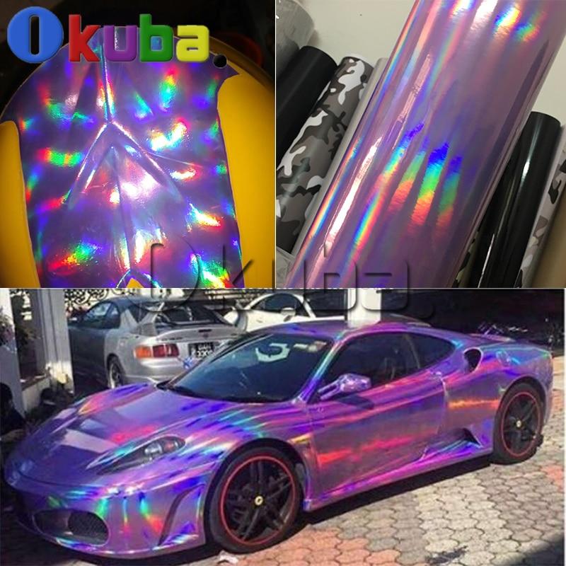 Holographic Chrome Vinyl Car Wrap Purple Laser Rainbow