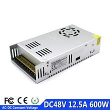 Источник питания постоянного тока 48В 12.5A 600W Светодиодный драйвер Трансформатор 110V 220V AC к DC48V адаптер питания для светодиодной лампы CNC CCTV