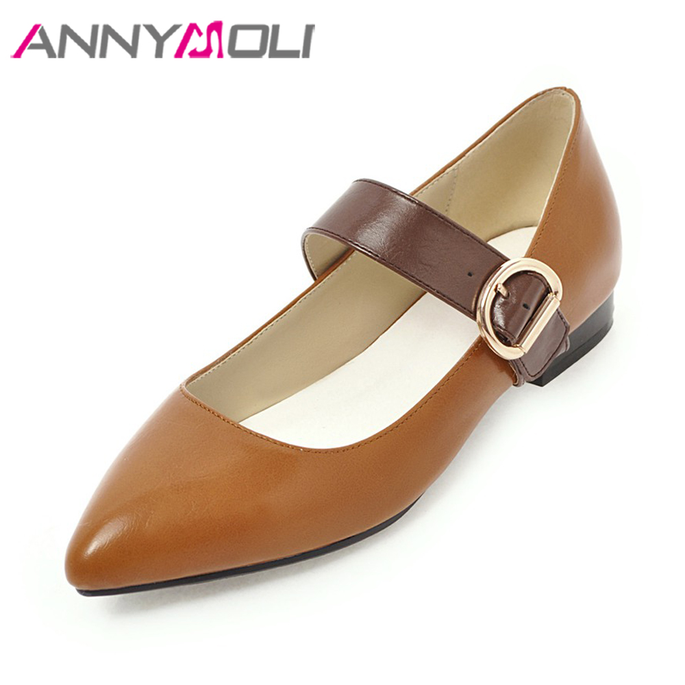 ANNYMOLI Flats Shoes Women Mary Jane Shoes Pointed Toe Plus Size 42 43 Buckle Strap Shoes Casual Ladies Flats Spring 2018 Yellow lankarin brand 2017 summer woman pointed toe flats ladies platform fashion rivet buckle strap flat shoes woman plus size