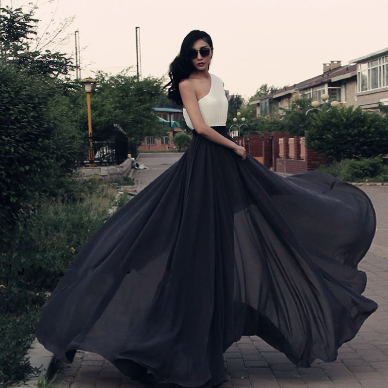 5XL/6XLSummer Style2015Summer Plus Size Women Expansion Chiffon Pleated Swing Floor Length Retro Vintage Long Maxi Chiffon Skirt