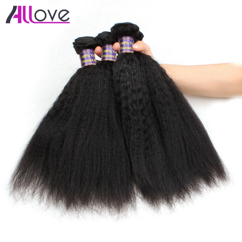 Allove Peruvian Kinky Straight Hair Weave Bundles 3Pcs Remy Human Hair 8-28 Inch Free Shipping Natural Color Can Mix 3 Or 4Pcs