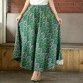 2016 mulheres Verão saia nuvem big balanço saias étnicas Estilo folk-personalizado linho saias longas Tornozelo Comprimento impresso midi as mulheres saia