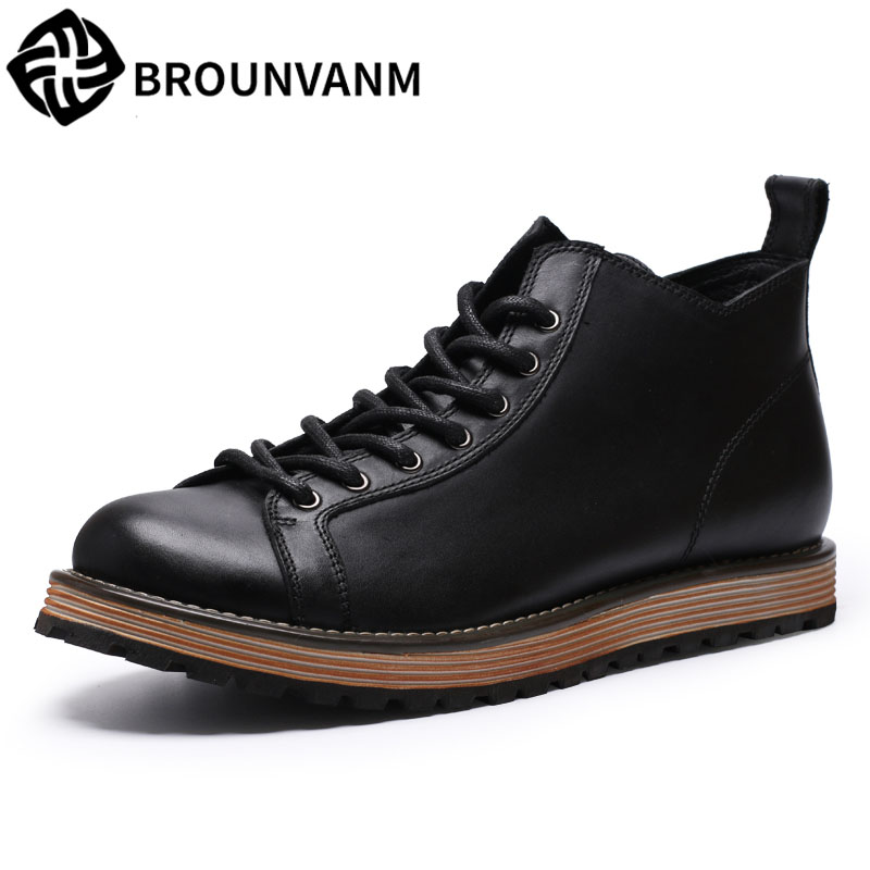 The British men Martin boots high shoes retro shoes and boots Metrosexual boots leather boots has thick autumn martin boots men s high boots korean shoes autumn winter british retro men shoes front zipper leather shoes breathable