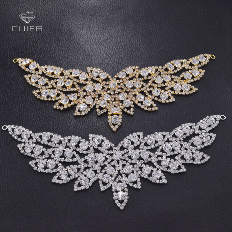 10pcs lot Shiny glass rhinestones necklines patches sew on for clothing handmade DIY bridal dress sewing
