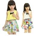 Ropa para niños niñas vestido de 2016 del verano vestidos tirantes niños cuhk vestido de gasa de la marca bowknot vestidos florales