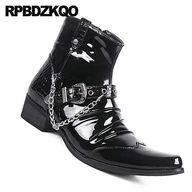 75bd10bcce6 ... Zipper Fashion Waterproof Ankle Punk Metalic Booties Black Shoes  Pointed Toe Rock Chunky Snakeskin Mens Patent ...