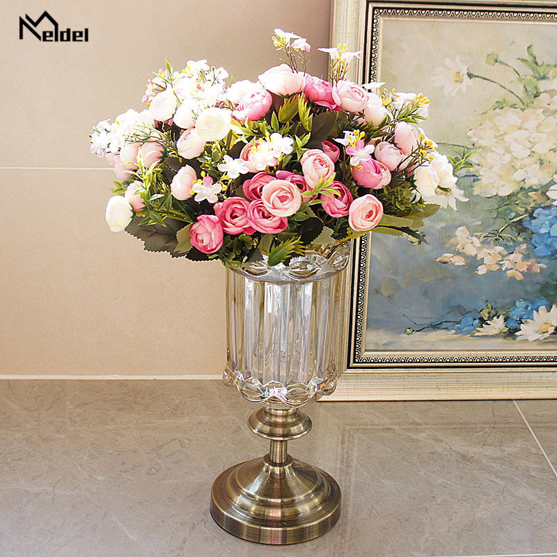 rose flowers artificial bouquet wedding fake flower (1)_