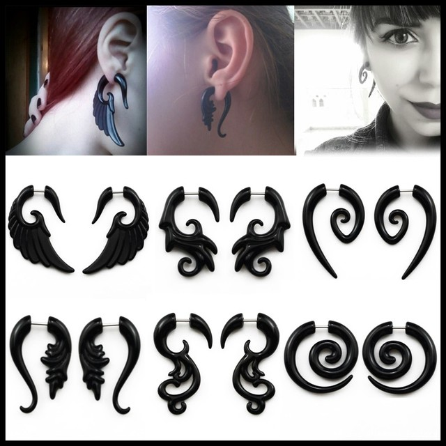 12pcs Angel Wing Black Acrylic Studs Fake Cheater Illusion Plug Tunnel Earring Piercing Jewelry Body
