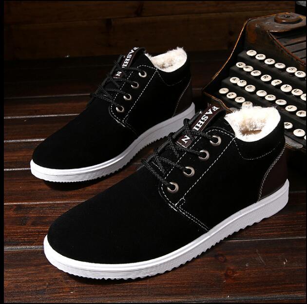 Más espesamiento Otoño Invierno exterior ocio hombres botas calientes herramientas algodón zapatos Inglaterra botas hombres zapatos nieve botas