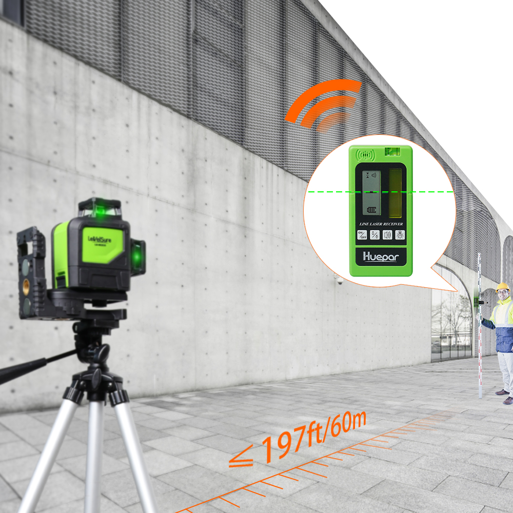Tools : Laser Level Receiver Detector with Pulsing Line Ourdoor Indoor Electronic Leveling Vertical Horizontal Lines for Red Green Beam