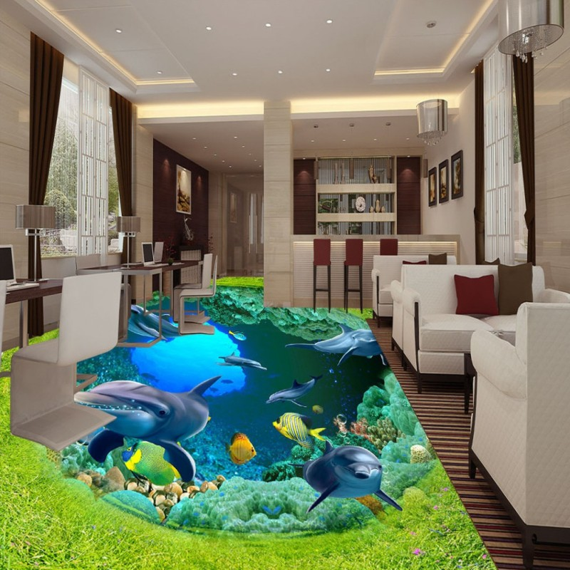 купить Free Shipping Grassland Ocean World Dolphin Coral 3D Floor Painting Self-adhesive shopping mall children room mural wallpaper по цене 6953.13 рублей
