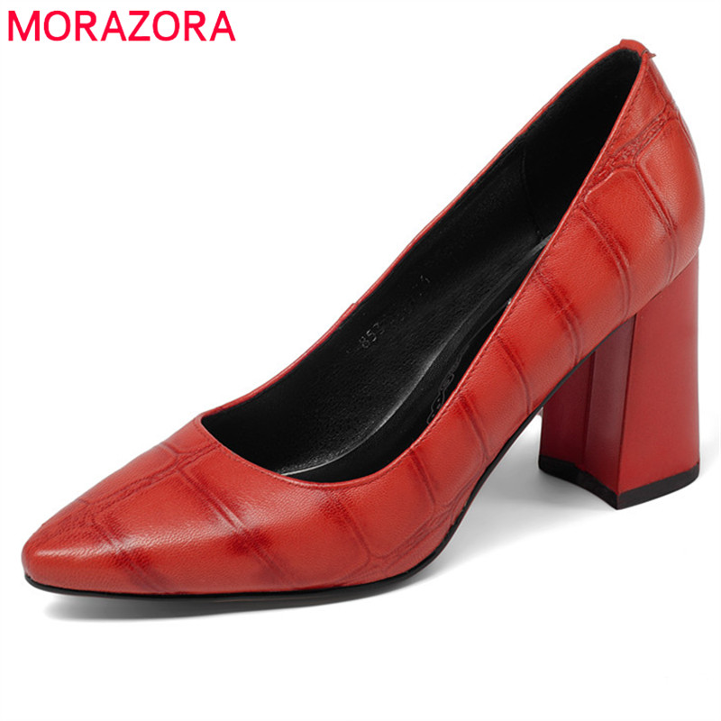 MORAZORA 2020 hot sale women pumps spring summer pointed toe ladies shoes genuine leather party wedding