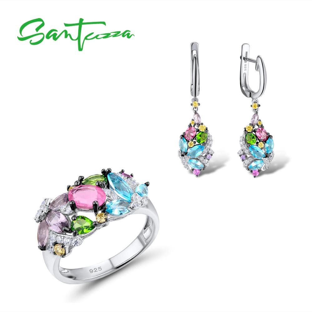 Silver Jewelry Sets For Women Mutil Color Stones White CZ Earrings Ring Set 925 Sterling Silver