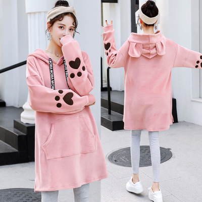 070155a167330 Maternity Velvet Loose Hoodies Tops Autumn Winter Pregnancy Clothes Sweater Dress  Cute Rabbit Ears Hat Hoodie for Pregnant Women-in Hoodies from Mother ...