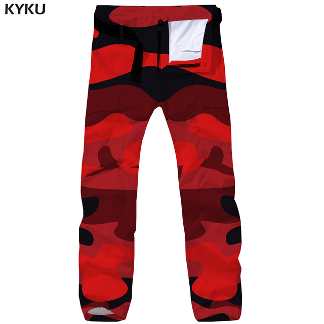 e4ec86ad14cb KYKU Brand Camo Cargo Pants Men Camouflage Tactical Pants Military Red 3d  Print Britches Baggy Vintage