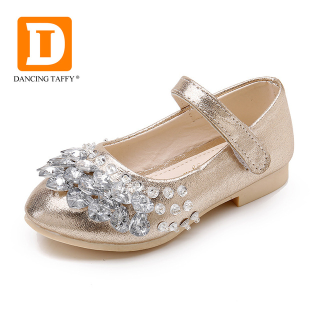 Diamond Shining Children's Shoes Girls Party Kids Girls Leather Shoes Ballerina Princess Shoes For Girls Kids Dress Size 26-36