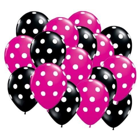 20 шт./пакет 12 дюймов, латексные гелиевые шары в горошек, Премиум Черные и ягодные ярко-розовые с напечатанными белыми точками, латексные шары
