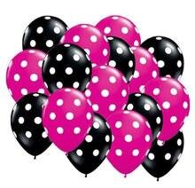 Balões de látex de bolinhas de 20 e pçs/saco 12 polegadas, balões de hélio premium preto e berry quente rosa com impressão completa bolas de látex pontos brancos