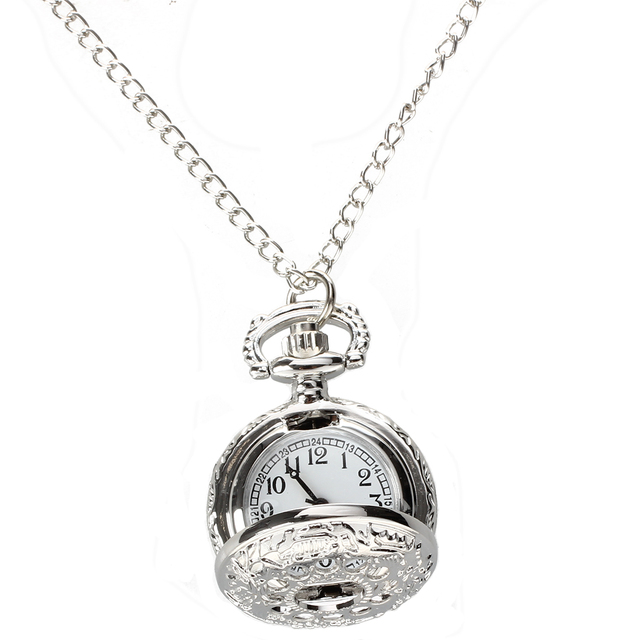 Pocket Watch Silver Quartz Traforato Numbers Arab Necklace with Vintage