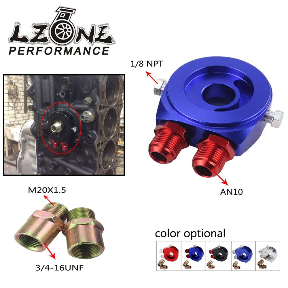 LZONE - M20X1.5 3/4-16UNF Oil Filter Cooler Aluminum Sandwich Re Locator Plate Adapter 1/8Npt AN10 JR6721