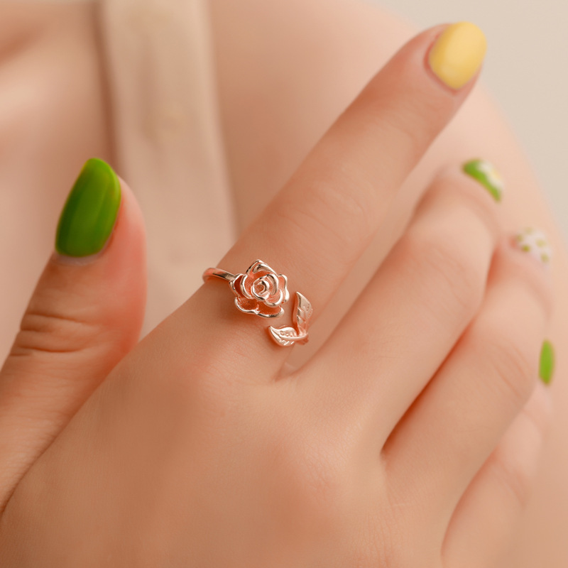 Hot Sale Vintage Gold Adjustable Rings for Women Rose Women's Engagement Couple Ring Statement Hand Jewelry Valentine's Day Gift