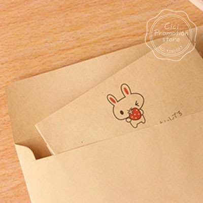 8pcs lot cute kraft paper strawberry ballon rabbit writting paper