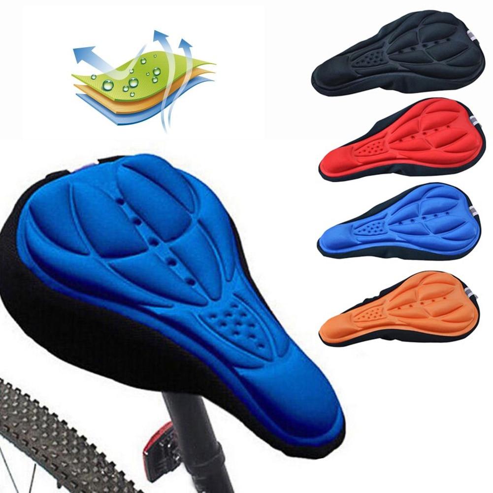 цена на 3D Soft Bike Saddle Pad Cycling Saddle Silicone MTB Mountain Bike Seat Cover Cushion Bicycle Accessories