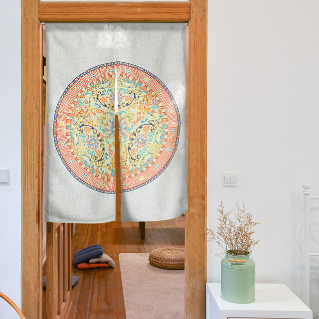 Oriental aesthetics auspicious plate grain cotton curtain cloth art new  Chinese door curtain Fengshui door curtain
