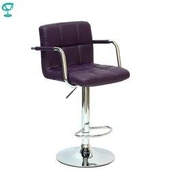 94248 Barneo N-69 эко-кожа кухонный барный стул высокий стул с мягким сиденьем на газ-лифте фиолетовый стул для барной стойки мебель для кухни кресл...