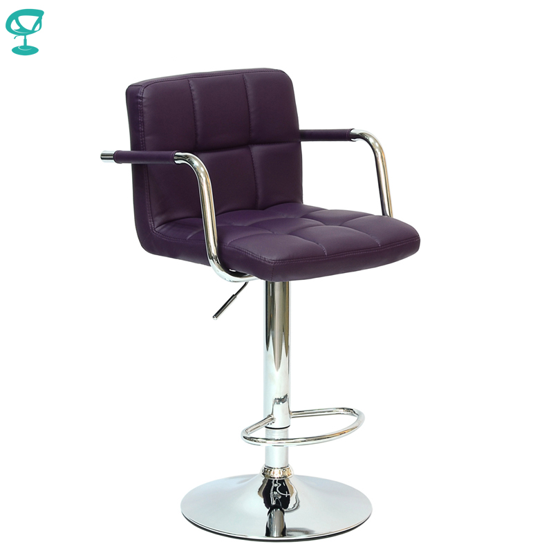 94248 Barneo N-69 Leather Kitchen Breakfast Bar Stool Swivel Bar Chair Purple Color Free Shipping In Russia