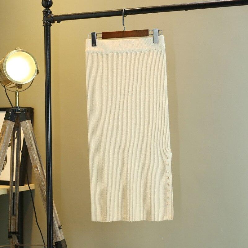 Automne et hiver nouveau côté fente jupe jupe slim minceur étape jupe longue section tricot épaississement bouton sac hanche jupe marée