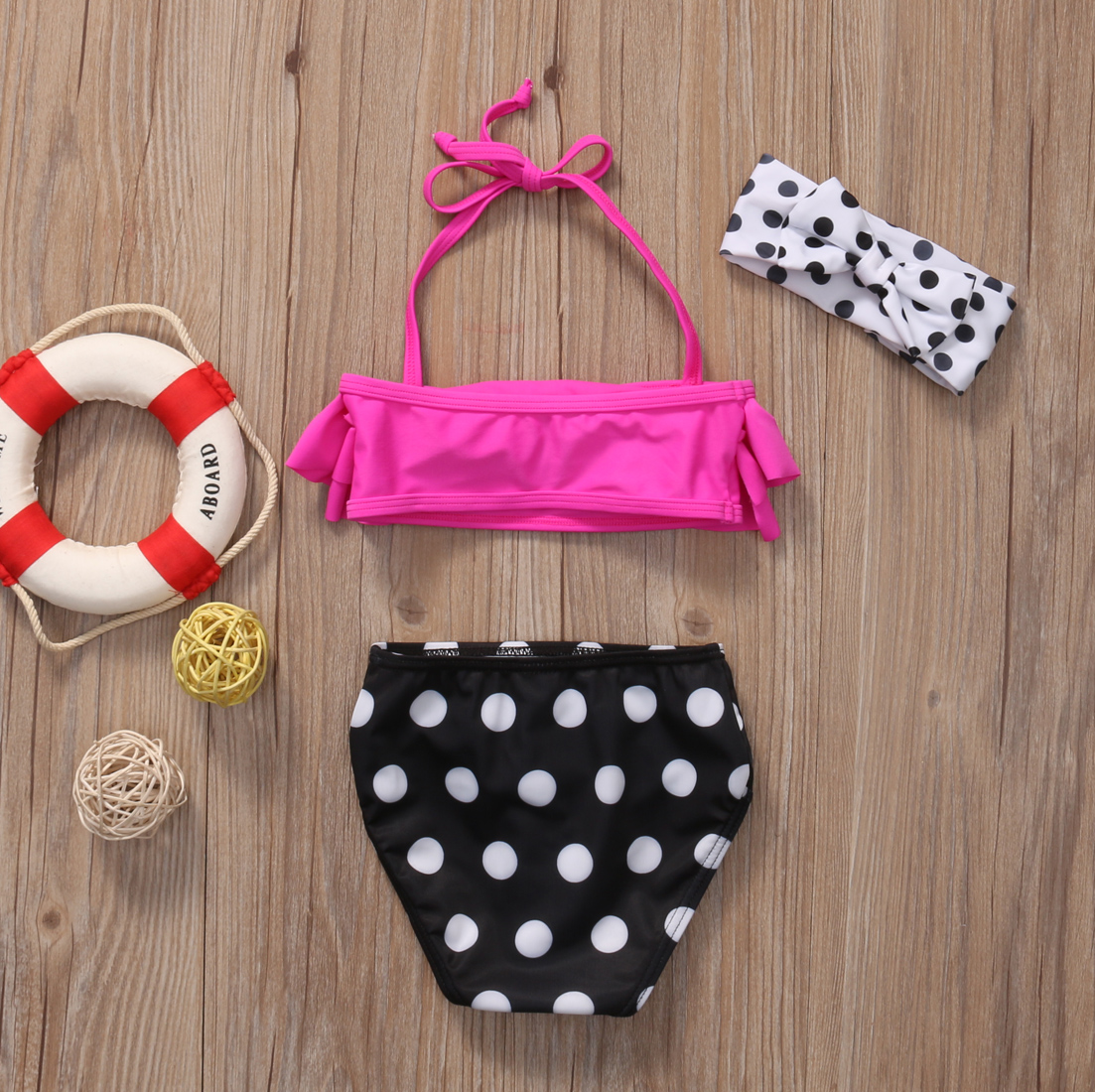 Niñas de dos piezas de lunares traje de baño niños bebé niña - Ropa deportiva y accesorios - foto 3