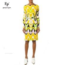 14867a154f8d2 Yeni 2018 sonbahar moda tasarımcısı elbise kadın uzun kollu sarı geometrik baskı  XXL streç Jersey ince ipek gün elbise