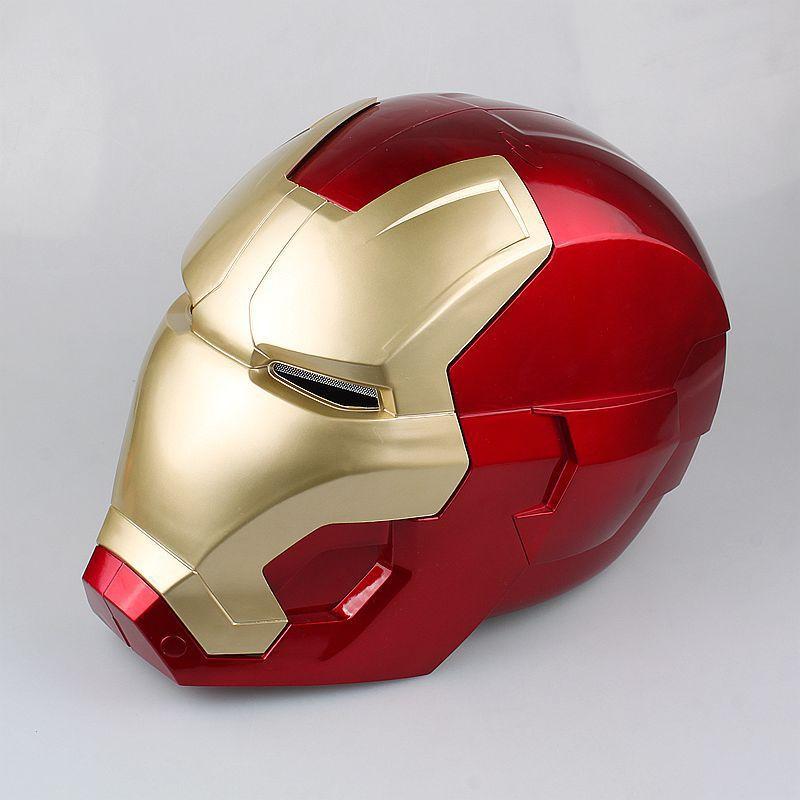The Avengers Iron Man Helmet Cosplay Helmet Ring Sensor Switch Light Eyes PVC Action Figure Collectible Model Toy 20cm KT3559
