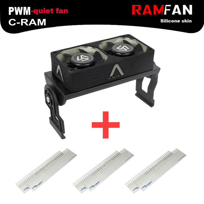 ALSEYE Computer Memory Cooling Fan RAM Cooler Aluminum Heatsink and Dual PWM 60mm Fans Radiator 4000RPM for DDR12345 12v 2 pin 55mm graphics cards cooler fan laptop cpu cooling fan cooler radiator for pc computer notebook aluminum gold heatsink