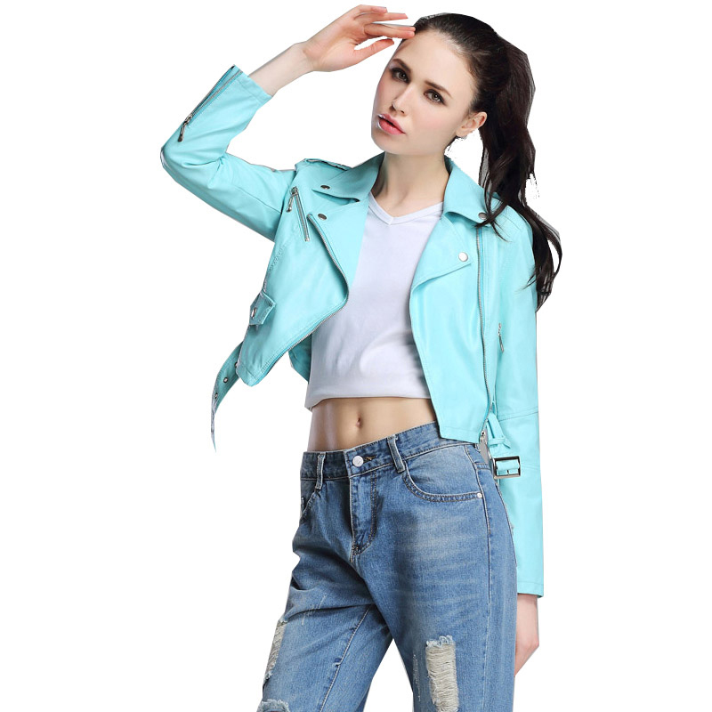 Red   Leather   Jacket Women Short White Motorcycle Biker Jackets Veste Cuir Femme Pink Black Soft Coats Blouson Cuir Femme UV1063