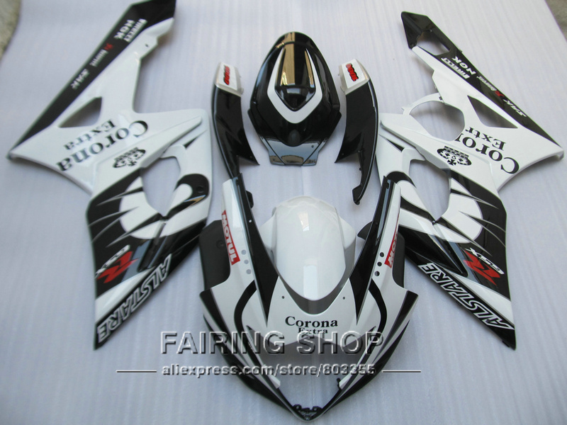 Injection molded fairings for Suzuki GSXR1000 K5 K6 2005 2006 white black fairing kit GSXR 1000 05 06 VN101 injection molding custom for 2005 suzuki gsxr 1000 fairings k5 2006 gsxr 1000 fairing 05 06 glossy black with white hm71