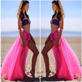 2016 new sexy women summer bandage solid color chiffon beach cover up pink white blue orange black dress
