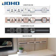 JOHO 80 см Алюминиевая USB настенная розетка Универсальная стандартная домашняя настенная зарядка серебро/черный/шампань адаптер питания розетка